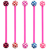 Bioflex Industrial Scaffold Barbells - Multi-Heart 34 / Pack of 5 pink shafts with Multi Heart balls (5 colours) / 5