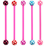 Bioflex Industrial Scaffold Barbells - Multi-Star 34 / Pack of 5 pink shafts with Multi Star balls (5 colours) / 5