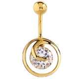 Belly Bar - Gold Plated Steel Jewelled Round Swirl 1.6mm, 10mm (most popular size)