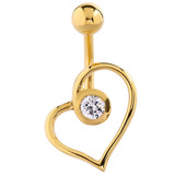 Belly Bar - Gold Plated Steel Jewelled Heart 1.6mm, 10mm (most popular size)