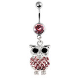 Belly Bar - Jewelled Owl 1.6mm, 10mm, Light Pink