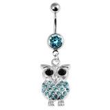 Belly Bar - Jewelled Owl 1.6mm, 10mm, Light Blue