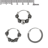 Multipacks - Sterling Silver Hoops For ear piercings, cartilage (orbital) piercings and the ear lobe. 3 single hoops as shown. (H40a, 54a, 117)