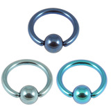 Multipacks - Titanium BCR Tragus and Nose Piercings 1mm, 8mm, Blue, Ice Blue, Turquoise