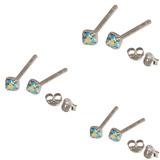 Multipacks - Silver Claw Set Crystal Studs 0.8 / Aqua AB in 1.5mm, 2mm, 2.5mm