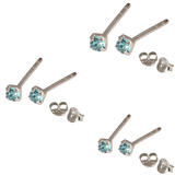 Multipacks - Silver Claw Set Crystal Studs 0.8 / Light Blue in 1.5mm, 2mm, 2.5mm