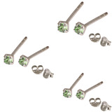 Multipacks - Silver Claw Set Crystal Studs 0.8 / Light Green in 1.5mm, 2mm, 2.5mm