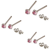 Multipacks - Silver Claw Set Crystal Studs 0.8 / Pink in 1.5mm, 2mm, 2.5mm