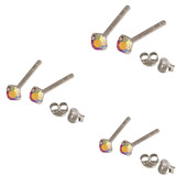 Multipacks - Silver Claw Set Crystal Studs 0.8 / Rose AB in 1.5mm, 2mm, 2.5mm