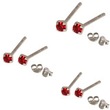 Multipacks - Silver Claw Set Crystal Studs 0.8 / Red in 1.5mm, 2mm, 2.5mm