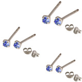 Multipacks - Silver Claw Set Crystal Studs 0.8 / Sapphire Blue in 1.5mm, 2mm, 2.5mm