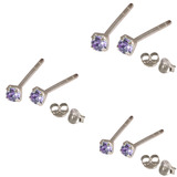 Multipacks - Silver Claw Set Crystal Studs 0.8 / Tanzanite in 1.5mm, 2mm, 2.5mm