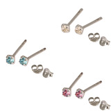 Multipacks - Silver Claw Set Crystal Studs 0.8 / Crystal Clear, Pink, Light Blue in 1.5mm