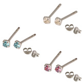 Multipacks - Silver Claw Set Crystal Studs 0.8 / Crystal Clear, Pink, Light Blue in 2mm