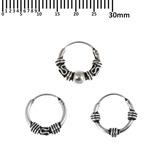 Multipacks - Sterling Silver Hoops For ear piercings, cartilage (orbital) piercings and the ear lobe. 3 single hoops as shown. (H26, H47, H89)