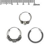 Multipacks - Sterling Silver Hoops For ear piercings, cartilage (orbital) piercings and the ear lobe. 3 single hoops as shown. (H27, H69, H118)