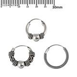 Multipacks - Sterling Silver Hoops For ear piercings, cartilage (orbital) piercings and the ear lobe. 3 single hoops as shown. (H25, H39, H117)