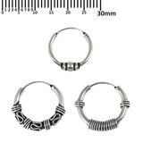 Multipacks - Sterling Silver Hoops For ear piercings, cartilage (orbital) piercings and the ear lobe. 3 single hoops as shown. (H29, H62, H93)