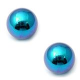 Titanium Threaded Balls 1.2mm, 3mm, Turquoise - 2 balls