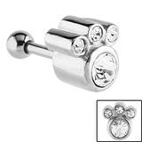 Steel Jewelled Paw Print Tragus Bar  - SKU 24538