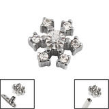 Steel Jewelled Snowflake for Internal Thread shafts in 1.6mm (1.2mm). Also fits Dermal Anchor Jewelled Snowflake