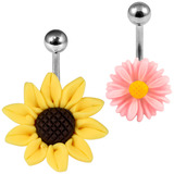 Belly Bar - Sunflower 1.6mm, 10mm (most popular size) / Both Flowers as shown below