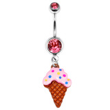 Belly Bar - Ice Cream Cone 1.6mm x 10mm (Standard Size)