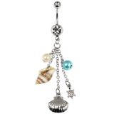 Belly Bar - Seashell 1.6mm, 10mm (most popular size), Crystal Clear
