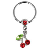 Jewelled Cherry Drop BCR - Nipple Ring - SKU 24587