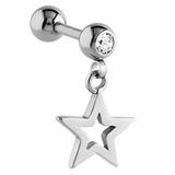 Steel Star Dangle Charm Tragus Bar 1.2mm x 6mm / Crystal Clear