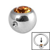 Steel Clip in Jewelled Balls 4mm amber