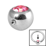 Steel Clip in Jewelled Balls 4mm light pink
