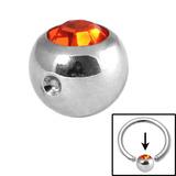 Steel Clip in Jewelled Balls 4mm orange