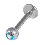 Titanium Jewelled Labrets 1.6mm 5mm Ball (Mirror Polish) 1.6x10mm / Aqua AB