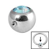 Steel Clip in Jewelled Balls 5mm aqua ab