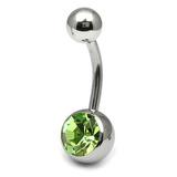 Titanium Single Jewelled Belly Bars 6mm Mirror Polish Mirror Polish, Light Green