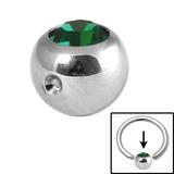 Steel Clip in Jewelled Balls 5mm dark green