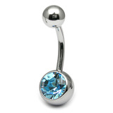 Titanium Single Jewelled Belly Bars 10mm Mirror Polish Mirror Polish, Light Sapphire