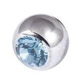 Titanium Threaded Jewelled Balls 1.6x6mm Mirror Polish metal, Light Sapphire Gem
