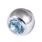 Titanium Threaded Jewelled Balls 1.6x5mm Mirror Polish metal, Light Sapphire Gem