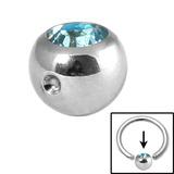 Steel Clip in Jewelled Balls 5mm light blue