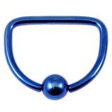 Titanium D Ring 1.6mm, 14mm, Blue