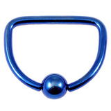 Titanium D Ring 1.6mm, 16mm, Blue