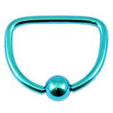 Titanium D Ring 1.6mm, 16mm, Turquoise