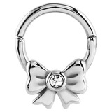 Steel Hinged Segment Ring with Jewelled Bow (Clicker) 1.6mm, 8mm