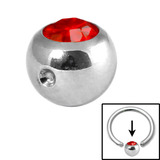 Steel Clip in Jewelled Balls 5mm red