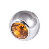 Steel Threaded Jewelled Balls 1.6x4mm amber