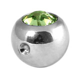 Titanium Clip in Jewelled Ball (for BCR) 5mm, Mirror Polish, Light Green
