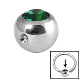 Steel Clip in Jewelled Balls 6mm dark green