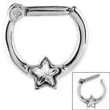 Steel Septum Clicker Ring Jewelled Star Steel with a Jewelled Star / 1.2mm / Crystal Clear